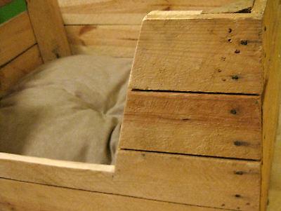 KATZENBETT Tierbett Hund Katze Bett Korb Körbchen Kissen OBSTKISTE Holz Kiste 3