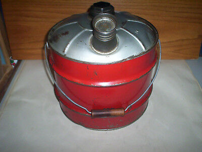 Vintage Red 2 Imperial Gallons Metal Jerry Gas Can Oil Pail + Lid & Spout Canada 3