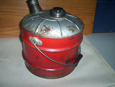 Vintage Red 2 Imperial Gallons Metal Jerry Gas Can Oil Pail + Lid & Spout Canada 9