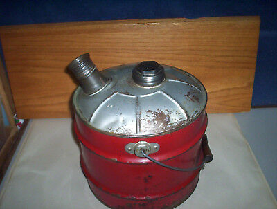 Vintage Red 2 Imperial Gallons Metal Jerry Gas Can Oil Pail + Lid & Spout Canada 4