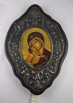 """C470 ⭐⭐"""" VINTAGE BYZANTINISCHE griega ICONO """"950 plata y 24 - quilates⭐⭐"""