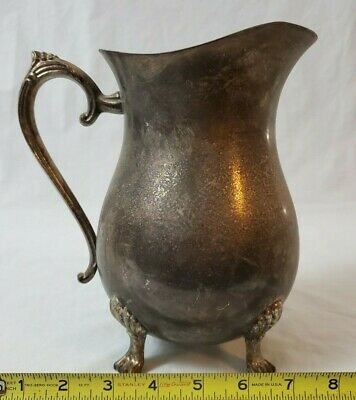 Vintage Leonard Silver Plate Footed Water Pitcher with Ice Lip 10