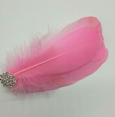 Asst Colour Silver Gem Feather Fascinator Diamante Hair Clip Vintage Style 6