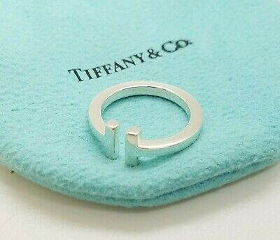 """Tiffany & Co. 925 Sterling Silver """"T"""" Square Ring Band Size 7 with Pouch 4"""