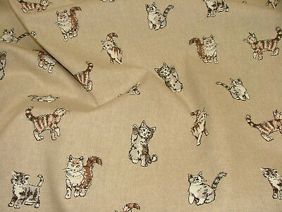Digital Print Cats Kittens CAT Cotton Linen Look Fabric Curtain Upholstery
