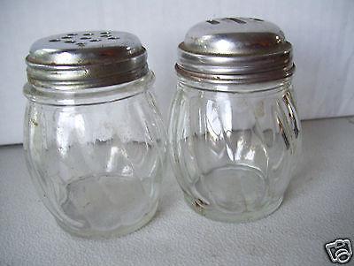 "Vintage Clear Glass Salt & Pepper Shaker Set 3.5"" Tall 2"" Bottom Stainless Lids"