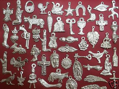 100 SILVER Assorted Mexican Folk Art Milagros Exvoto Nicho Retablo Charms 3