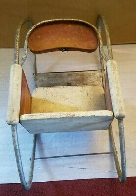 Antique Vintage Metal & Wood Oak Hill Co. Toddlers/Doll Rocker Playchair 7