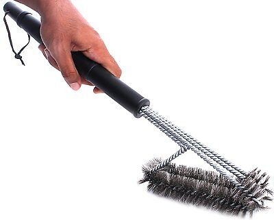 """BBQ Grill Brush Cleaner 18"""" Grilling Tool Cleaning Stainless Steel Woven Wire 9"""
