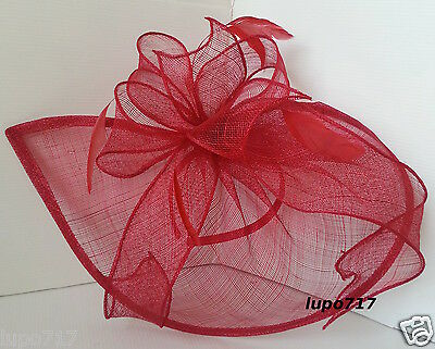 Red Sinamay Feathers Hat Fascinator Wedding Ascot Race Hen Party Ladies Day New 5