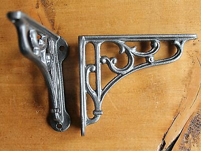 "Pair 4"" SMALL ANTIQUE CAST IRON VICTORIAN VINTAGE SHELF BRACKETS PEWTER BR04px2"