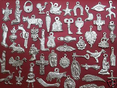 100 SILVER Mexican Folk Art Milagros Charms Exvoto Nicho Retablo Charms Lot #3 5