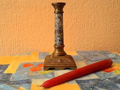 Antiguo Candelero De Mármol Y Bronce - Siglo Xix - Francia