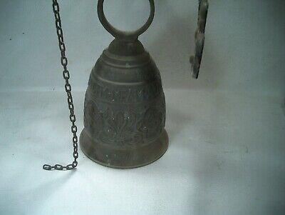 Vintage Large Brass Church Bell Door Knocker Angel Qui Me Tangit Vocem Meam Audi 8