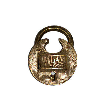 An Attractive Vintage very Old genuine Brass made Padlock Lock with a Key INDIA 3