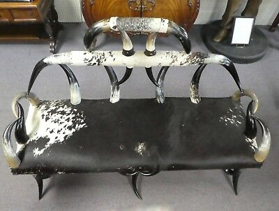 """American Victorian Horn Settee Sofa. Sturdy Solid Comfortable. 62""""Wide x 43""""H 8"""