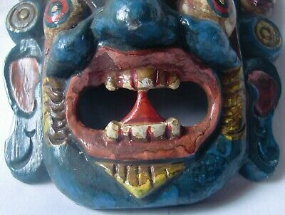Multicolor wooden demon face mask wood devil head statue hand painted home decor 5