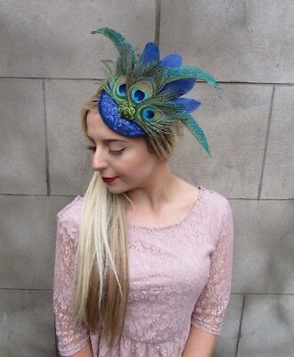 Royal Blue Sequin Peacock Statement Feather Fascinator Races Pillbox Hat 4999 2