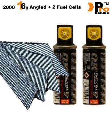 MIXED PACK -Paslode Hitachi 2000 16G ANGLED Finish Nails + 2xFuel Cells   016 2