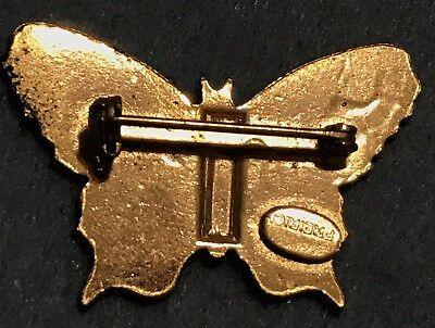Vintage Enamel Gold Butterfly Brooch Stamped Pin Estate Signed Frierici Antique