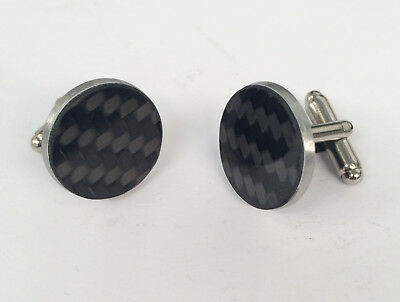 Carbon fibre & stainless steel cufflinks guys mans car driving wedding gift