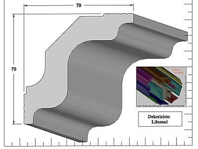 """4 I-A-Ecken  /""""Sandnes/"""" Stuckleisten Stuckprofil Stuckleiste 7cm x 7cm 12 Meter"""