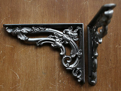 "Pair Pewter 8x6"" ANTIQUE HEAVY CAST IRON VICTORIAN SHELF WALL BRACKETS - BR07px2 2"