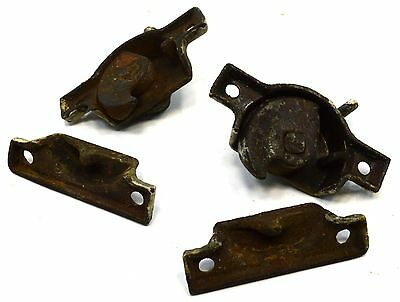 Antique CAST IRON WINDOW LOCK Lot of 2 ORNATE SASH LOCKS Latches VICTORIAN c19th 6