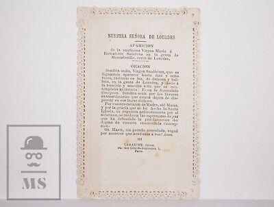 Antique Paper Lace Holy Card - Our Lady of Lourdes - Lamarche Ed., France 2
