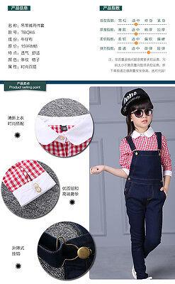 kid Denim overalls 2PC Long sleeve Plain Shirt+Overalls Jeans Girls Size 3-16YRS 9