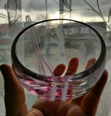 Vintage Caithness crystal half moon dish with pink and white stripes