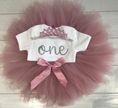 Luxury Girls 1st First Birthday Outfit Tutu Skirt Cake Smash Set Blush Tiara 7