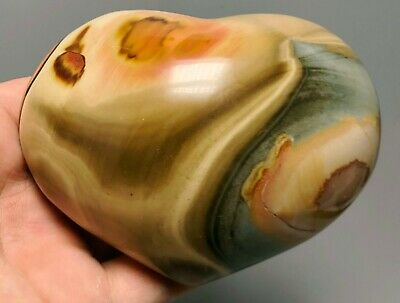 Polished POLYCHROME JASPER HEART Reiki Healing Palm Stone - Madagascar 4