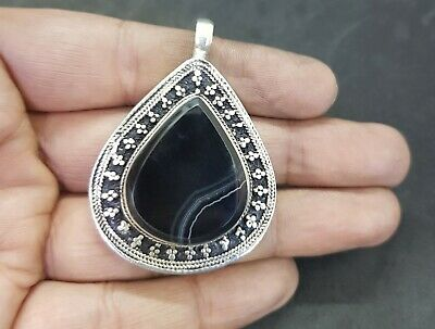 Afghani Silver Plated Pendent With Natural Black Agate Beautiful Stone #W2 3