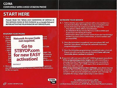 Straight talk bring your own phone byop verizon activation kit (4g.