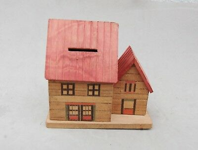 "Japan Made Wood House Bank Toy Hand Made Vintage 4 1/2""x 4 1/2 Twist Open Bottom 2"