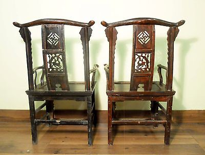 Antique Chinese High Back Arm Chairs (5683) One Pair, Circa 1800-1849 11