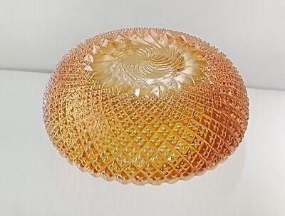 "Rare 6"" Sowerby Carnival Glass Bowl Pinwheel Pattern Marigold Colour 2"