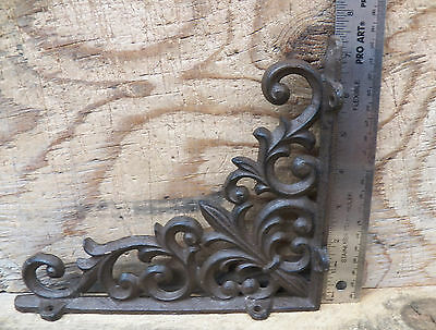 Lot/Set 2 Antique-Style Cast Iron Fleur-de-lis 9 x 7.5 in SHELF BRACKETS Braces