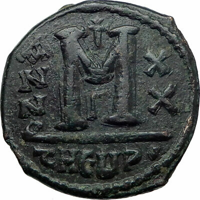 MAURICE TIBERIUS 582AD Antioch Follis Authentic Ancient Byzantine Coin i80721 2