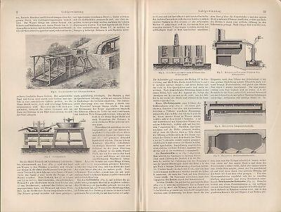 Lithografien 1897: GOLDGEWINNUNG. Wäsche-Mühle Goldscheidung Chlorationsprozess 2