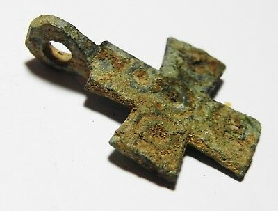 Zurqieh - As8582- Ancient Holy Land. Byzantine Bronze Cross. 600 - 800 A.d 3