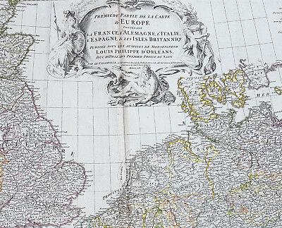 1754 D Anville Large Original Antique Map of Western Europe British Isles - Rare 2