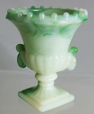 Akro Agate - Beaded Top Urns -  Pair of Urns - Green Swirl