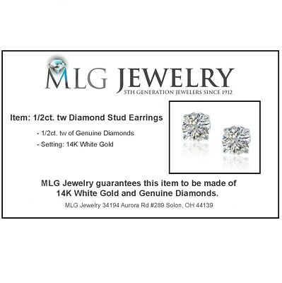 1/2ct Real (Natural) Round Diamond Solitaire Stud Earring set in 14K White Gold 2
