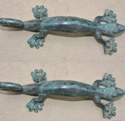 "3 small GECKO DOOR PULLS 21cm green brass PLAIN old style house handle 8.1/2"" B 5"