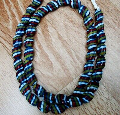 """Rare 23"""" 43 Bead Ancient Phoenician Spiral Spiral Colorful Opaque Glass Necklace 3"""