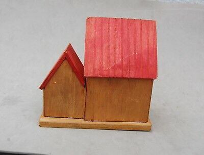 "Japan Made Wood House Bank Toy Hand Made Vintage 4 1/2""x 4 1/2 Twist Open Bottom 6"
