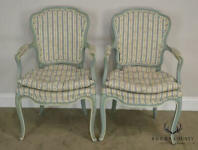 French Louis XV Style Vintage 1960's Custom Painted Pair Armchairs 3