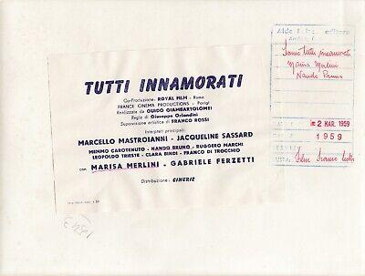 """©Pierluigi 1959, Marcello Mastroianni et divers """"TUTTI INNAMORATI"""" 6 tirages 4"""